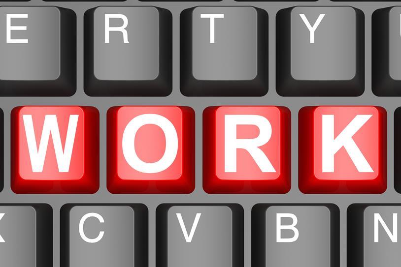 "Tastatur med teksten ""work"""