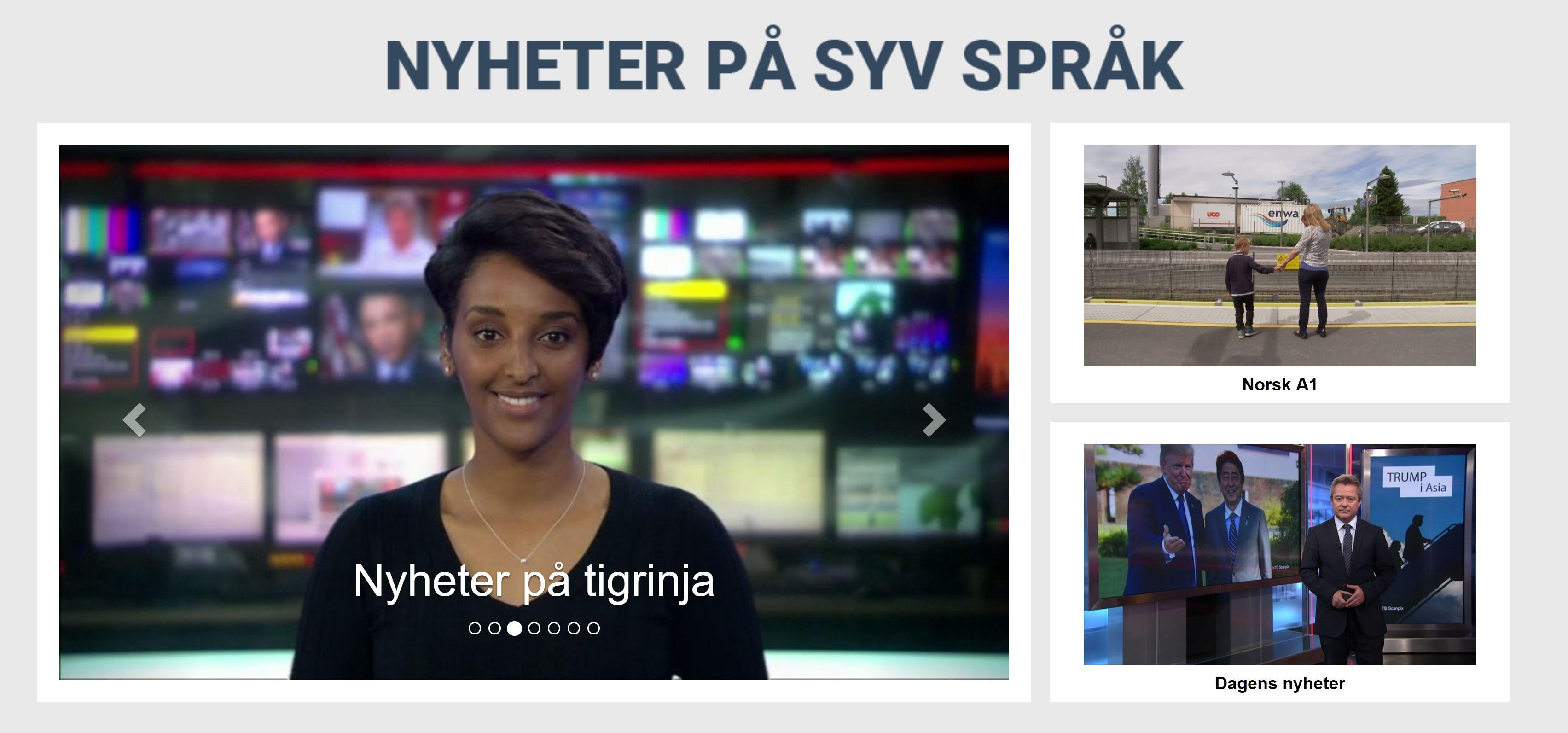 Bilde av nettsiden som tilbyr nyheter på syv språk, gratis norskopplæring.