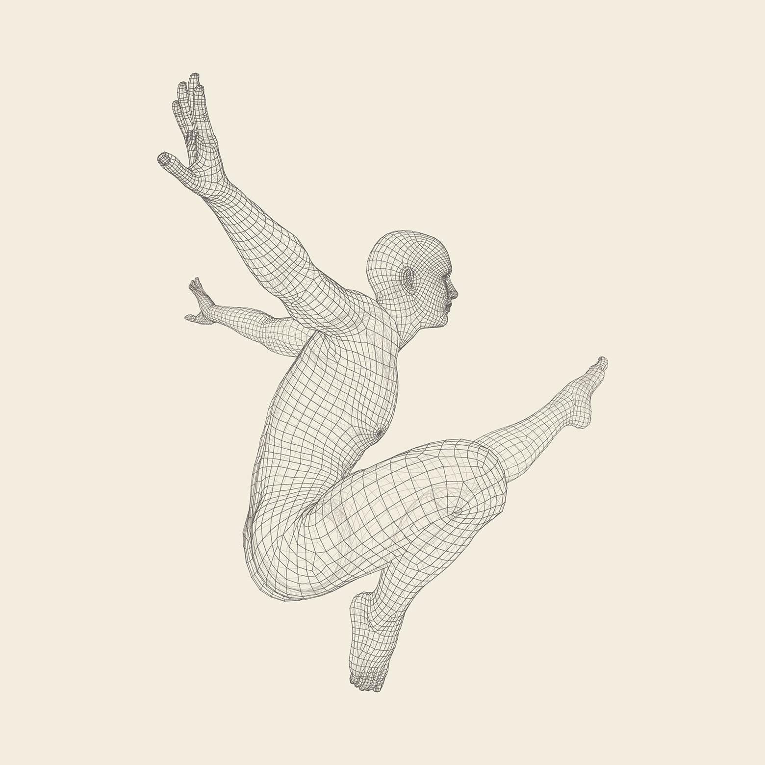 Digital person som hopper
